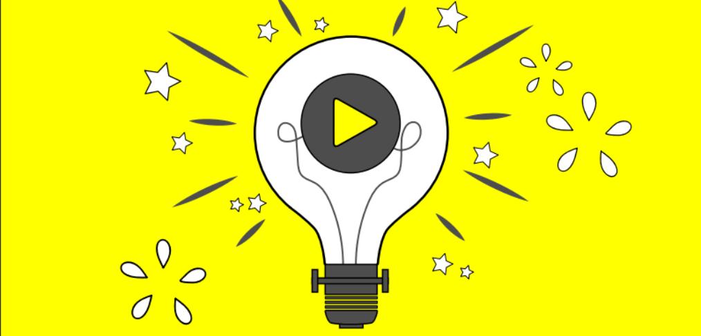 the play icon inside a light bulb sumbolizing an idea