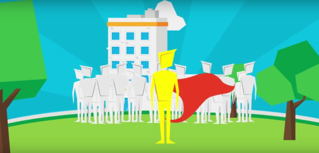 a superhero representing Nestle as a leader in the market