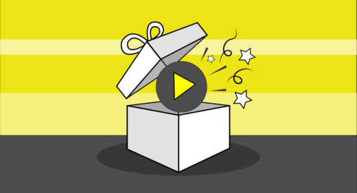 gift illustration of a play button in a box forvideo marketing strategies