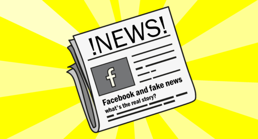 Newspaper illustration of Facebook news
