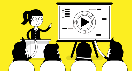 illustration of a business person using an explainer video in a presentation