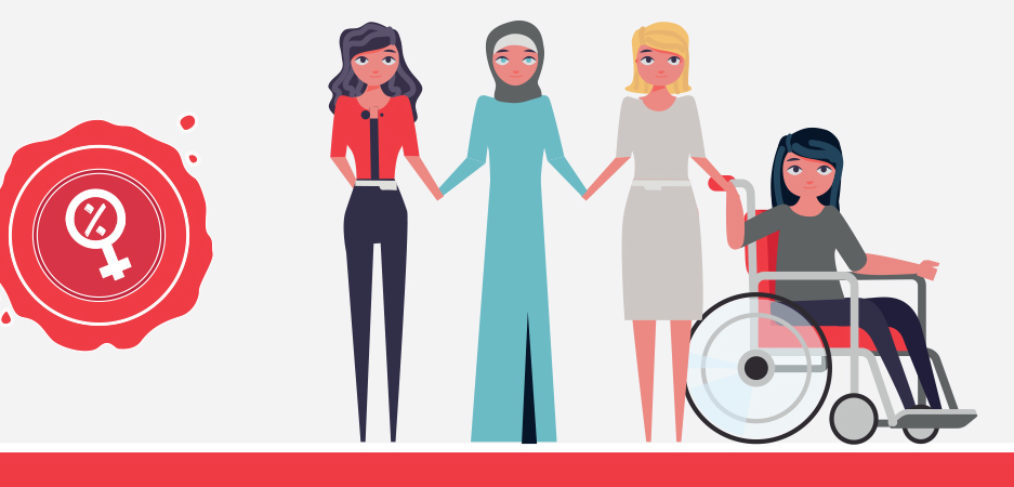 2D illustration of different types of Lebanese women to represent quota