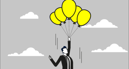 illustration of man with balloons carrying him up the sky