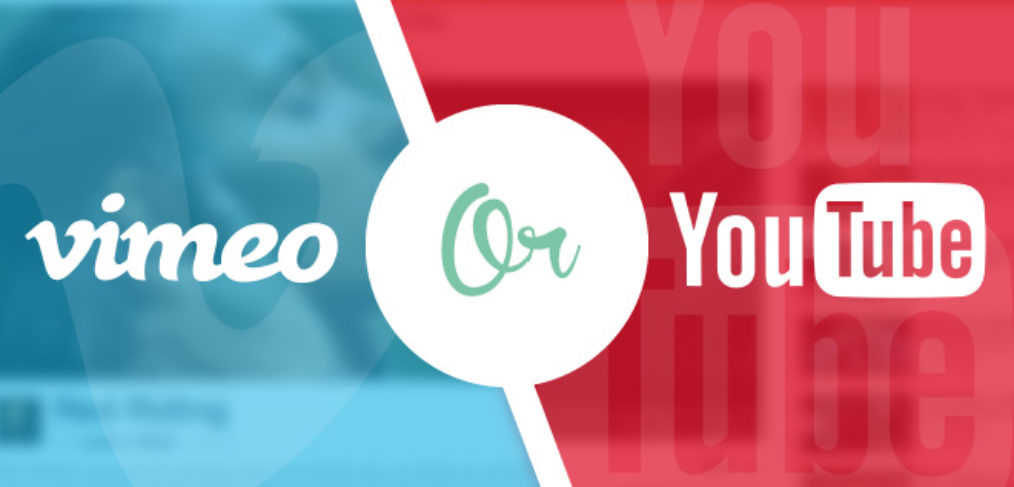 youtube vs. vimeo split screen illustration