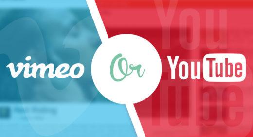 youtube vs. vimeo split screen illustration