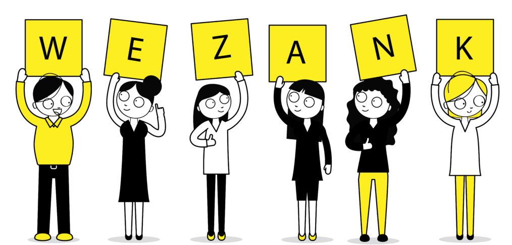 wezank team illustration holding the letters of the company
